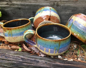 Ceramic Cappuccino Mugs - Ocean Love
