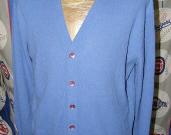 Jefflinks Mens Vintage Knit Cardigan Jumper Size Large Blue Dupont Orlon
