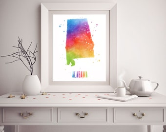 Alabama Print   Alabama Watercolor   Watercolor State Art   Alabama State   Dorm  Room Decor Part 63