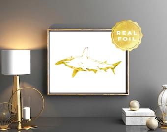 Shark Gold Foil Art Print - Hammerhead Shark Print - Gold Foil Prints - Gold Shark Print - Shark Decor - Gold Wall Art - Office Decor