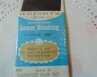 Vintage Black Seam Binding Wrights Vintage Trims Sewing Notions