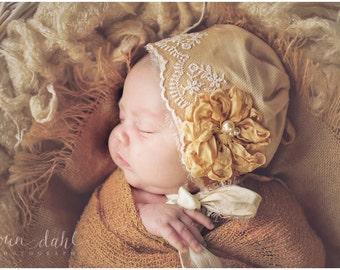 Sophia newborn girl bonnet, newborn photo prop, newborn bonnet, vintage bonnet, tattered ribbon flower