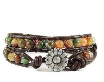 Leather Wrap Bracelet Striped Agate Gemstones Daisy Button Beaded Jewelry