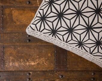 Star Pattern Black 40cm x 40cm box cushion - Hand screen printed