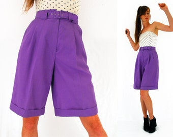 80s culottes, purple culottes, high waisted shorts, 90s long shorts, jaques vert, oversized shorts, Hipster, Small, medium, UK 10 - 12