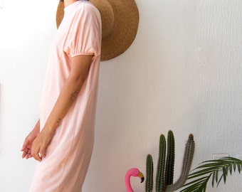 Casual T shirt Dress in Peach // Day Dress in Midi Knee Length with Gathered Sleeves