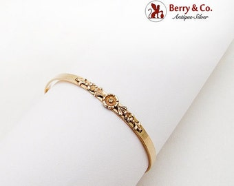 SaLe! sALe! Art Nouveau Floral Baby Bangle Bracelet Gold Filled 1900