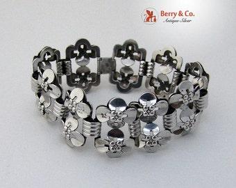 SaLe! sALe! Scandinavian Double 4 Leaf Clover Bracelet 835 Silver Wide Ornate 1925