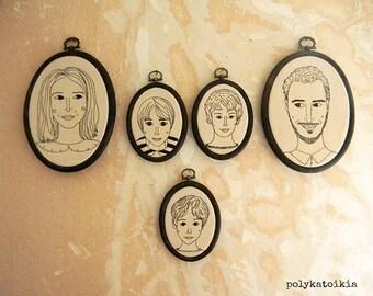 Custom Family Portrait,Set of 5,Personalized Portrait,Oval Custom Family Portrait,Hand Embroidered Custom Portrait,Embroidered Wall Art