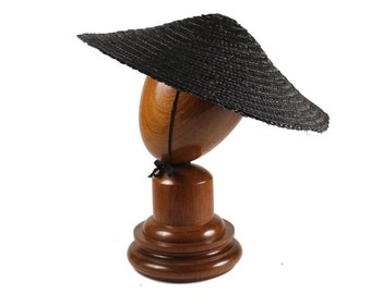 Vintage 1950s Black Wide Brim Straw