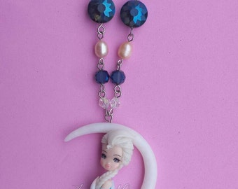 Elsa on the moon in fimo, polymer clay