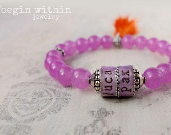 Mama Bracelet / Purple Jade Personalized Boho Tassel Bracelet / Mother's Gift