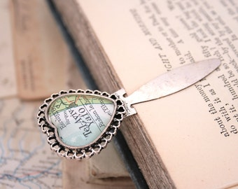 Map Bookmark with Custom Map Personalized Friendship Gifts Custom Map Bookmark Personalized Book Mark Metal Bookmark