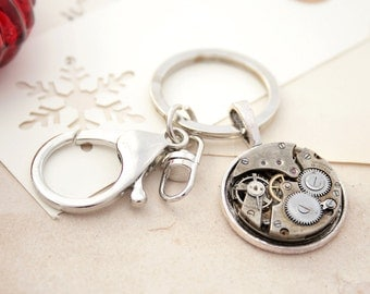Metal Keychain/ Steampunk Home Owners Gifts/ Industrial Keyring/ Watchwork/ Unique Christmas Gifts