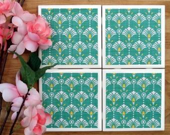 Coasters Tile - Teal Coasters - Handmade Coasters - Coasters - Drink Coasters - Tile Coasters - Ceramic Coasters - Ceramic Tile Coasters