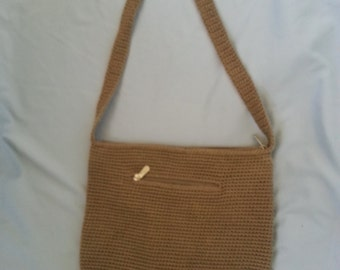 The SAK Tan Crochet Handbag Purse Boho Hippie Bucket Lined with Interior and Exterior Zippered Pocket