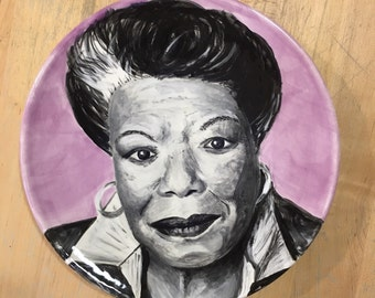 Portrait of Maya Angelou hand painted on Ceramic Salad-sized Plate