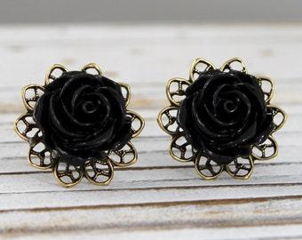 Jet Black Rose - vintage style antique brass rose post earrings - Secret Garden Collection