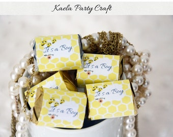 Bee hershey nuggets wrappers. Bee baby shower. Bee baby shower decorations. Bee baby shower favors. Bee 1st birthday. Bee chocolate wrappers