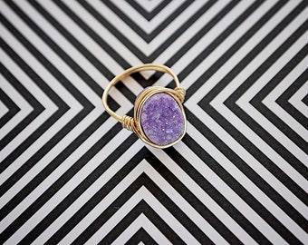 Oval Druzy in Lavender