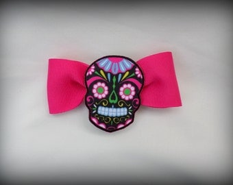 Pink Hair Bow with Black Sugar Skull Barrette