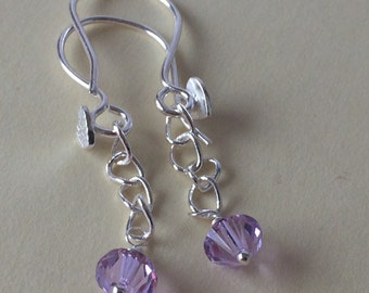 Swarovski purple crystal earrings