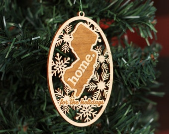Engraved New Jersey Wood Christmas Ornament