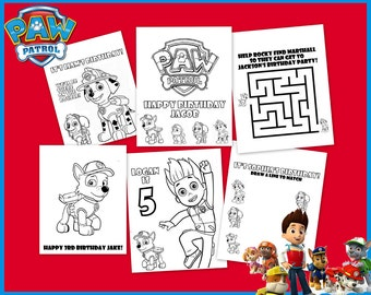 Paw Patrol Personalized Coloring Book - Instant Printable Download - For Party Favors Or Gifts - Birthday Decorations - Rocky Marshall Skye