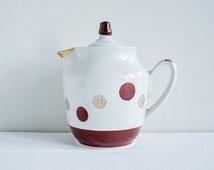 Soviet Vintage Tea Pot with Lid, Small Coffee Pot, Polka Dot Porcelain Jug, White with Brown Dots, Retro Kitchenware, USSR era 1970s