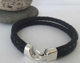 Black Braided Leather Bracelet with an Antique Silver Hook Clasp, Leather Bangle, Men's Leather Bracelet, Silver Clasp and Black Leather