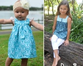 ROSIE Dress ~ Top ~ Pinny ~ Maxi Dress Infant 000 to 16 girls PDF pattern for all year round by Flosstyle Winter Sumer Pinafore Beach