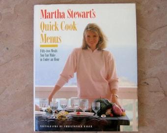 Martha Stewart's Quick Cook Menus cookbook, vintage cook books, Martha Stewart 1988 cookbook