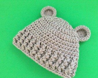 Infant crochet hat with ears in soft gray, babies winter hat, newborn beanie, toddler hat, baby boy hat, girl hat, photo prop. Baby gift.
