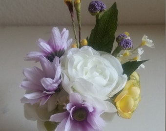 Silk Floral Arrangement Ranunculus and Purple Daisy in a Metal Container