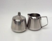 Vintage creamer and sugar set milk jug sugar bowl stainless steel jug and lidded bowl by Oneida Continental