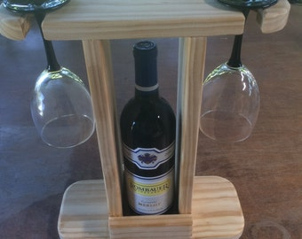 Bottle and Wine Glasses Stand
