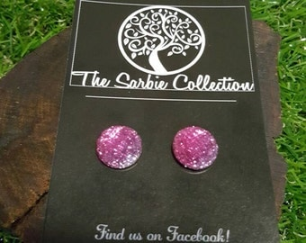 Pink faceted sparkle studs