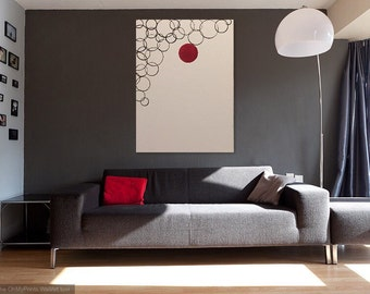 Abstract art, contemporary art, art, black, white, red, circles
