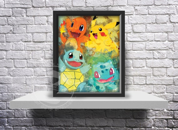 Pokemon Go Inspired Fan Art poster print choose Size and Frame