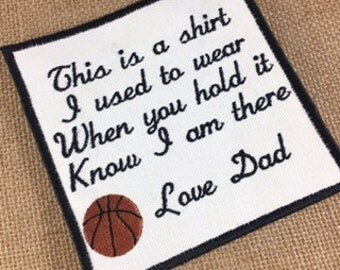 SEW or IRON-ON Basketball Memory Pillow Patch - 2 Sizes - This is a shirt I used to wear, Shirt Pillow Patches, Memory Patches