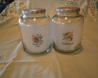 Canisters, Pancake Mix, Oatmeal, Vtg. Style Labels, Glass, Kitsch