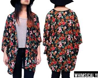 Oversized Flowy Long Black Floral Handmade Kimono Cardigan