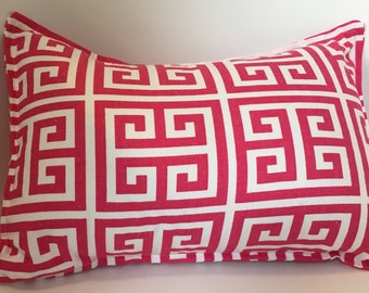"""Candy Pink Towers Pillow Cover 12"""" x 16"""" READY TO SHIP knife edge, overlap back closure, Premier Prints Candy Pink and white"""