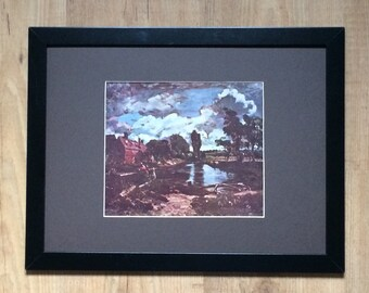 "Framed and Mounted Lock and Cottages on the Stour Print by John Constable 16"" x 12"""