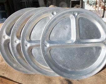 4 Vintage Aluminum Divided Camping Plates