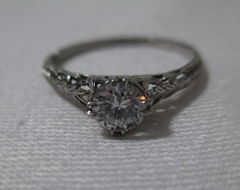 Vintage Platninum Solitaire European Cut Diamond Ring, circa 1930, size 8