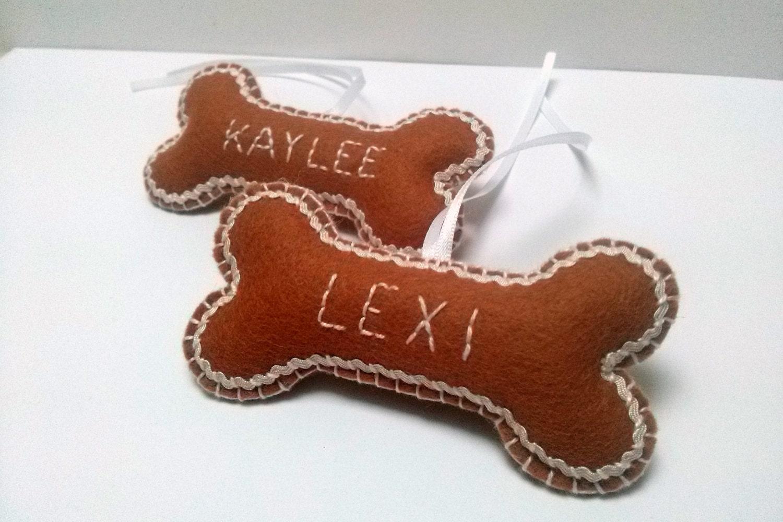 Felt dog bone christmas ornament personalised dog by for Dog bone ornaments craft