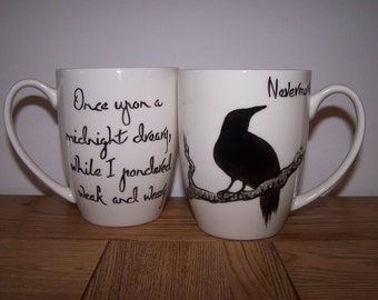 20% off Add RAVEN20 as coupon code at checkout Raven Mug Edgar Allan Poe Valentines gift NEVERMORE  Hand Painted to order