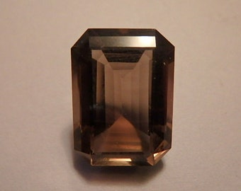 Vintage Smoky Topaz Solitaire Gemstone Faceted Flawless Emerald Cut 14.47 Carat 18MM x 13MM