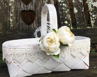 Shabby Chic Flower Girl Basket / French Country Flower Girl Basket / Vintage/ Rustic Chic Flower Girl Basket / Shabby Chic Fall Wedding